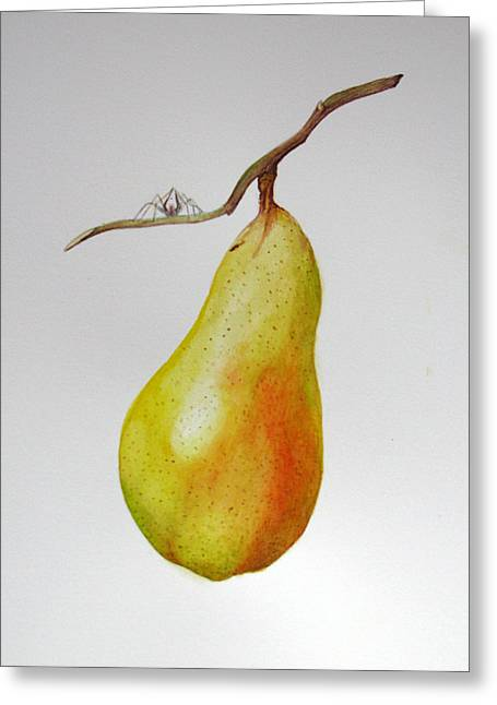 Greeting Card featuring the painting Pear With Spider by Margit Sampogna