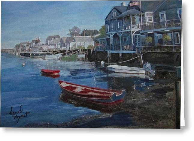 Peaseful Harbor Greeting Card by David Poyant