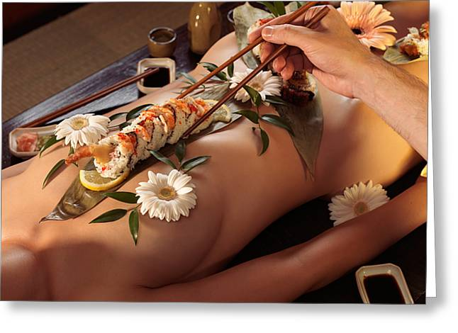 Person Eating Nyotaimori Body Sushi Greeting Card by Oleksiy Maksymenko