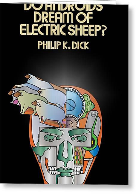 Philip K Dick - Electric Sheeps Greeting Card by Tomas Raul Calvo Sanchez