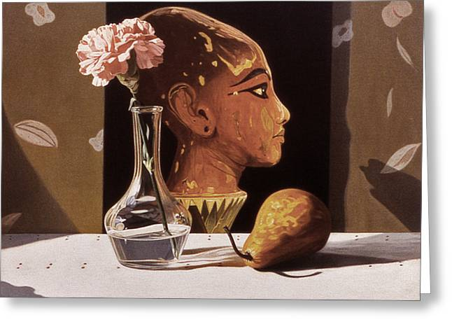 Pink Carnation And Egyptian Head Greeting Card by Daniel Montoya