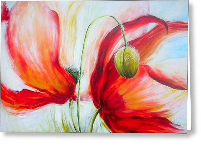 Poppies. Greeting Card by Jacqueline Klein Breteler