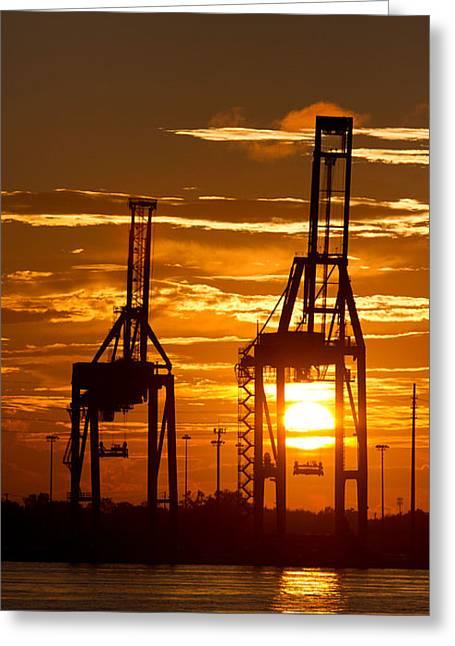 Port Of Charleston Sunset II  Greeting Card by Dustin K Ryan