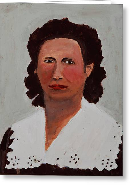 Greeting Card featuring the painting Portrait Of A Woman by Swabby Soileau