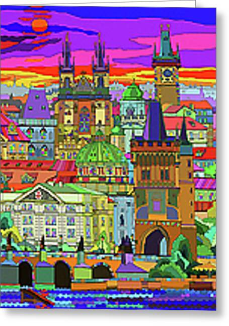 Prague Panorama Old Town Greeting Card