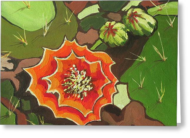 Prickly Pear Bloom Greeting Card by Sandy Tracey