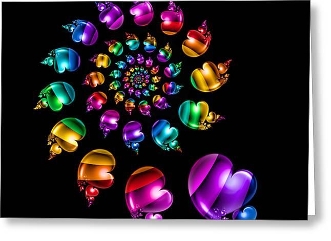 Rainbow Heart Wheel On Black Greeting Card by Pam Blackstone