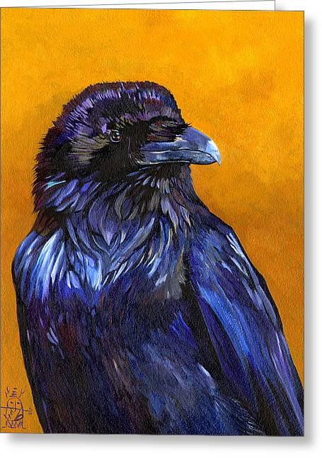 Raven Greeting Card by J W Baker