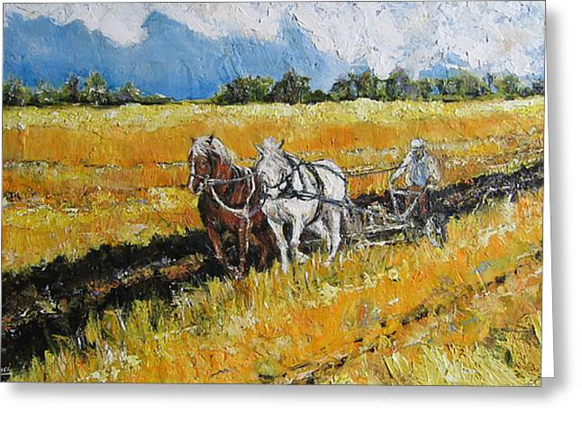 Greeting Card featuring the painting Refreshing The Soil by Debora Cardaci