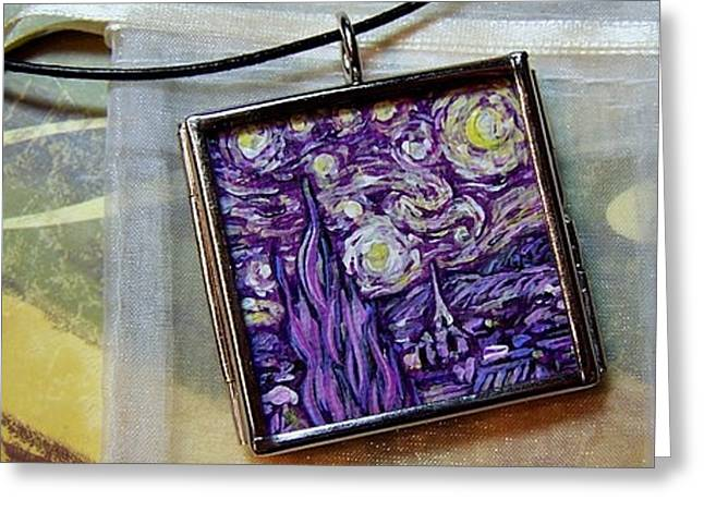 Rendition Of Starry Night In Amethyst Greeting Card by Dana Marie