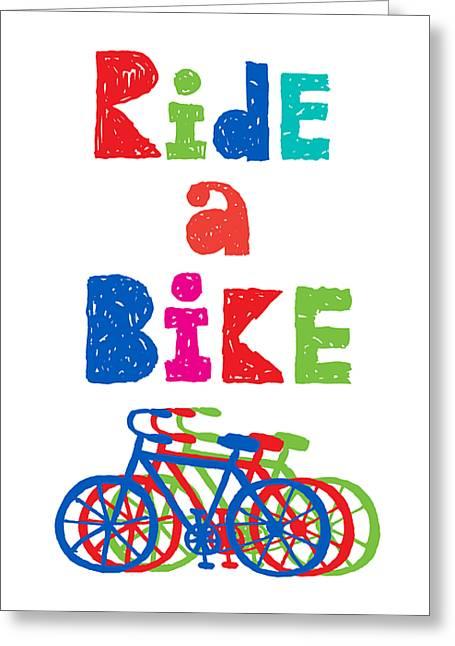 Ride A Bike - Sketchy  Greeting Card by Andi Bird
