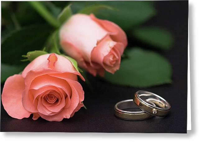 Roses And Rings Greeting Card