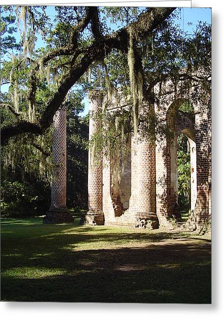 Ruins Of The Old Sheldon Church Greeting Card by Richard Marcus