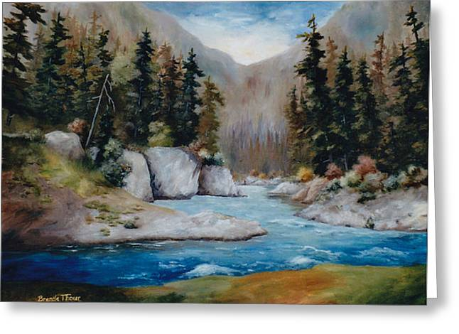Greeting Card featuring the painting Rushing Waters by Brenda Thour