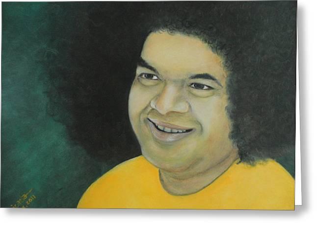 Sai Baba In Memoriam Greeting Card by Desiree Micaela