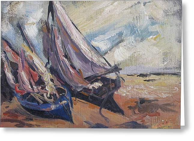 Greeting Card featuring the painting Sail Boats by Debora Cardaci