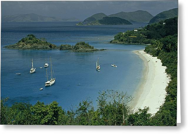 Sailing Yachts Anchor Off Of A Pristine Greeting Card by James L. Stanfield