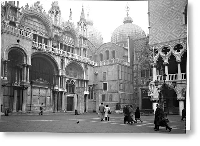 San Marco Piazza And Basilica In Venice Greeting Card by Emanuel Tanjala