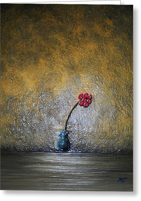 Greeting Card featuring the painting Seclude  by Edwin Alverio
