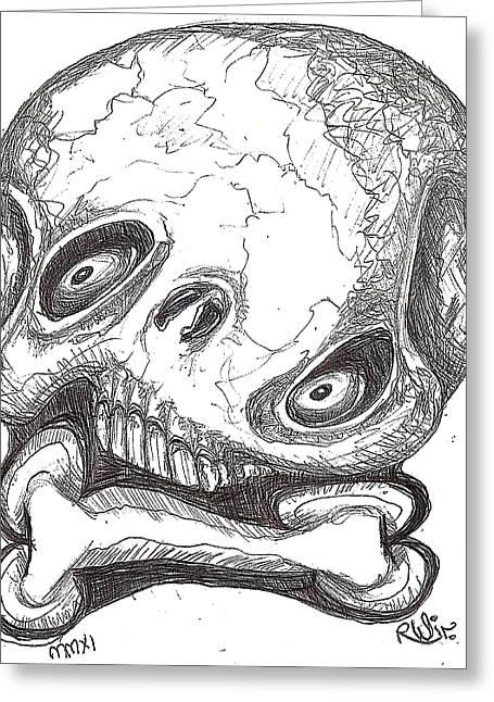 Skullnbone Twisted Greeting Card by Robert Wolverton Jr