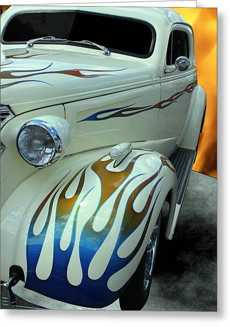 Smokin' Hot - 1938 Chevy Coupe Greeting Card by Betty Northcutt