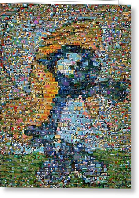 Smurfette The Smurfs Mosaic Greeting Card by Paul Van Scott