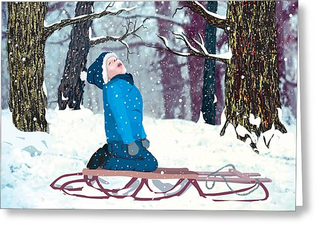 Snow Trance Greeting Card by Terry Cork