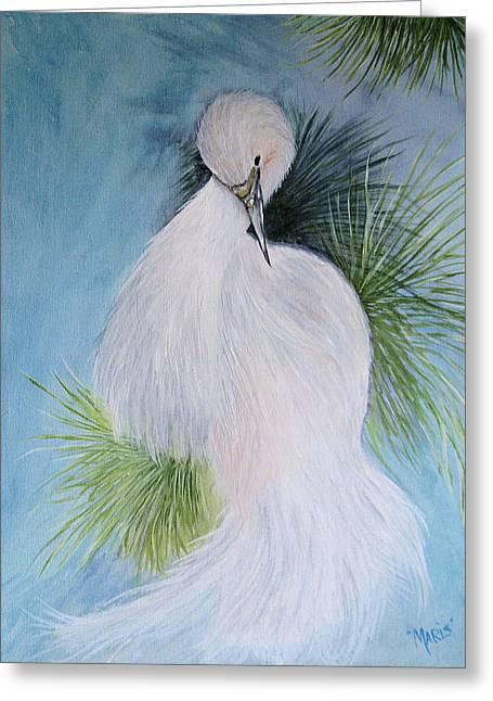 Snowy Egret Greeting Card by Maris Sherwood