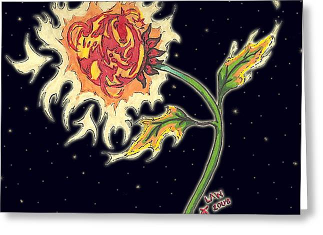 Solar Sun Flower Greeting Card by Law Stinson