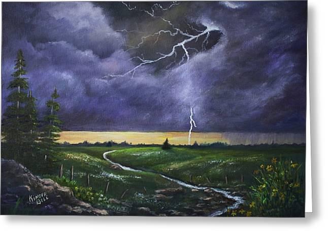 Spring Rain Greeting Card by Marlene Kinser Bell