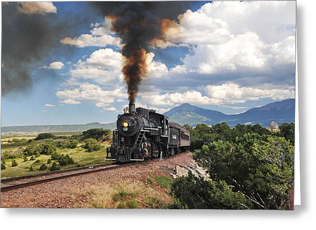 Steaming Towards La Veta Greeting Card