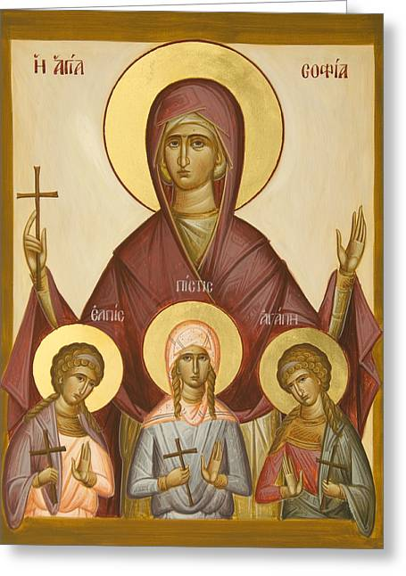 Sts Sophia Faith Hope And Love Greeting Card by Julia Bridget Hayes