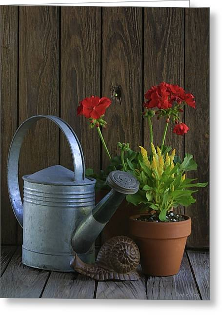Greeting Card featuring the photograph Summer Geraniums by Dodie Ulery