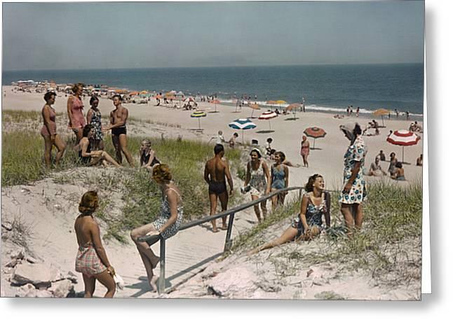 Sunbathers And Beach Umbrellas Dot Greeting Card by Willard Culver