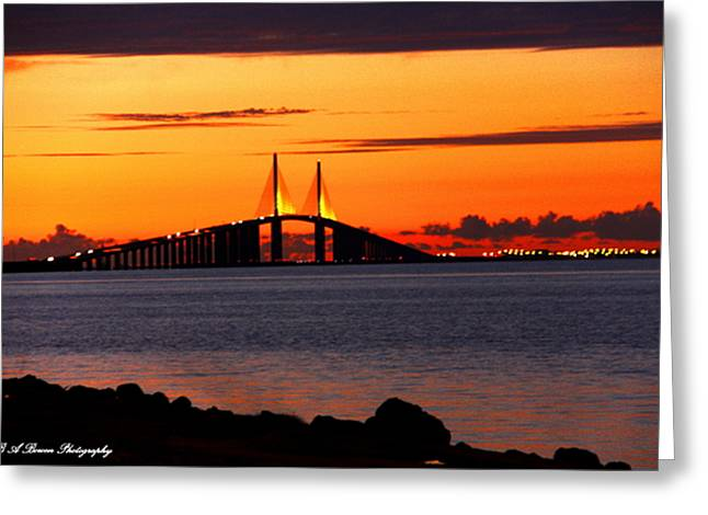 Sunset Over The Skyway Bridge Greeting Card