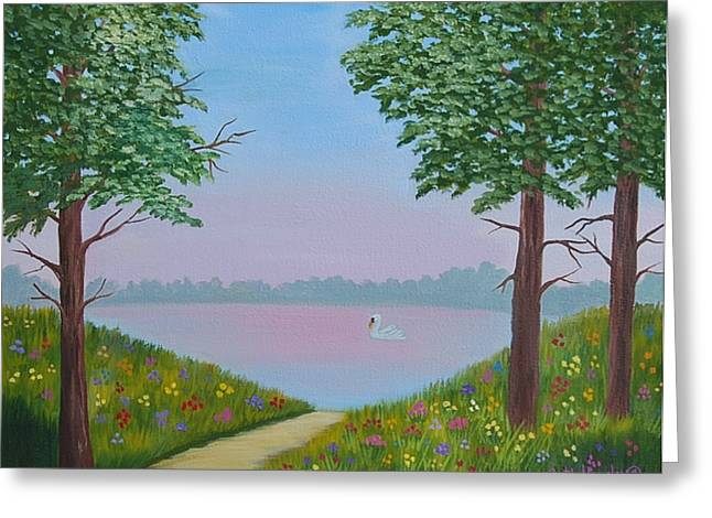 Swan On The Lake Sold Greeting Card by Ruth  Housley