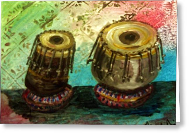 Greeting Card featuring the painting Tabla X 2 by Amanda Dinan