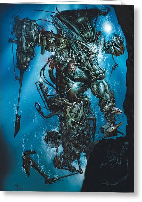 The Kraken Greeting Card by Paul Davidson