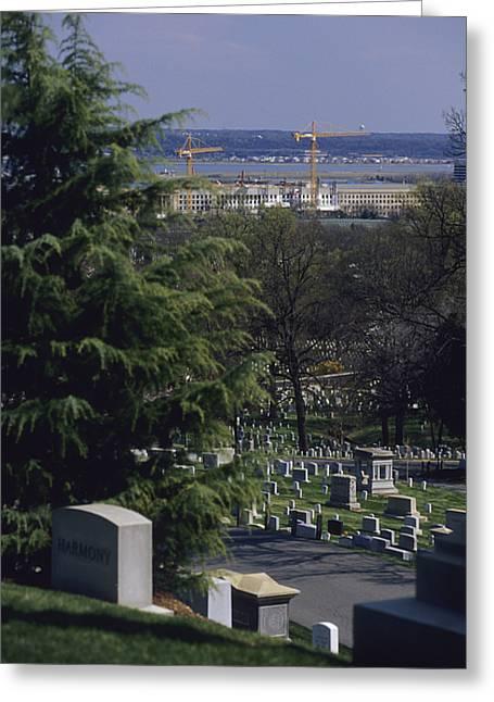 The Pentagon Looms Behind  Arlington Greeting Card by Raymond Gehman