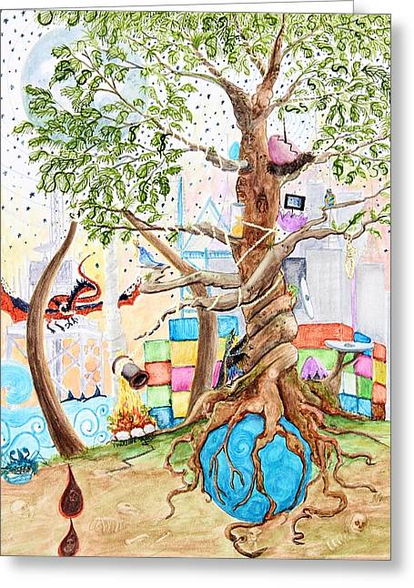 Tree Of Life Spent Greeting Card by Pauline Ross