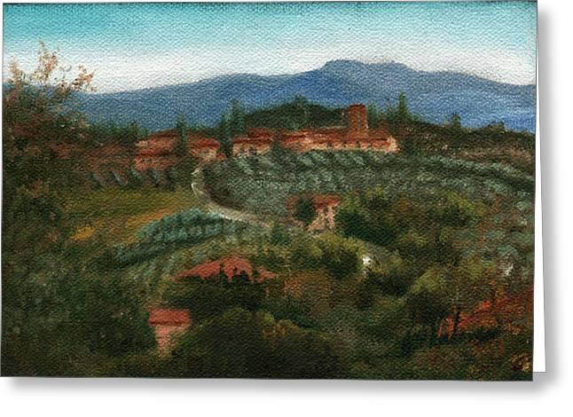 Tuscan Farm Greeting Card by Leah Wiedemer