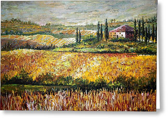 Greeting Card featuring the painting Tuscan Wheat by Lou Ann Bagnall