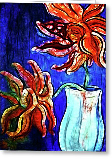 Two Flowers With Vase Greeting Card