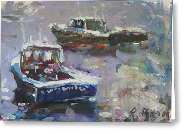 Greeting Card featuring the painting Two Lobster Boats by Robert Joyner