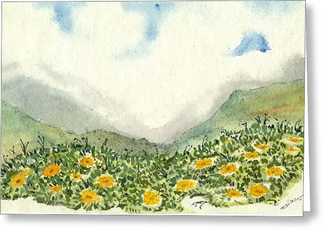 Valley Of Flowers Greeting Card by Monika Deo