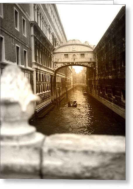 Venice Canal With Sunlight Greeting Card by Emanuel Tanjala