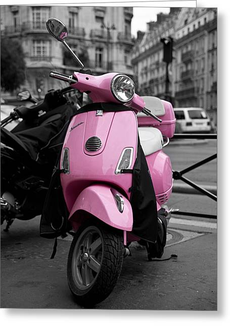 Vespa In Pink Greeting Card by Edward Myers