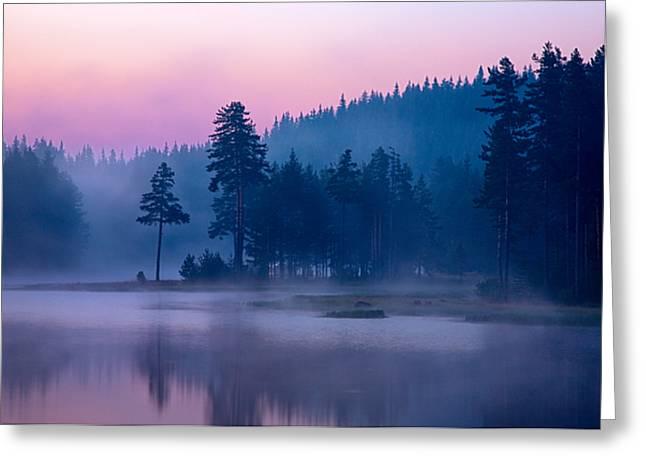 Violet Lake Greeting Card by Evgeni Dinev
