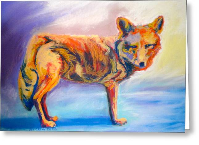 Greeting Card featuring the pastel Watching Coyote by Pat Crowther