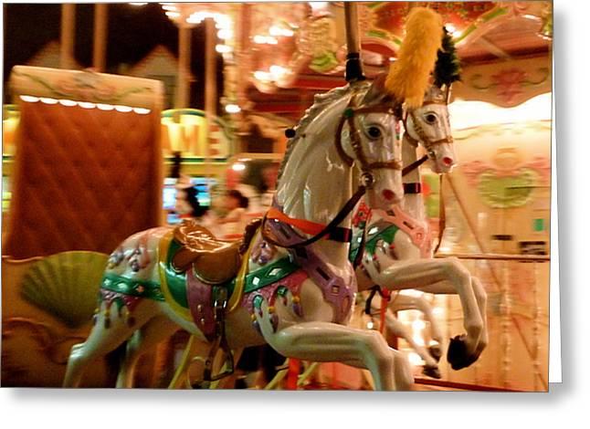 White Horses Greeting Card by Linda Scharck